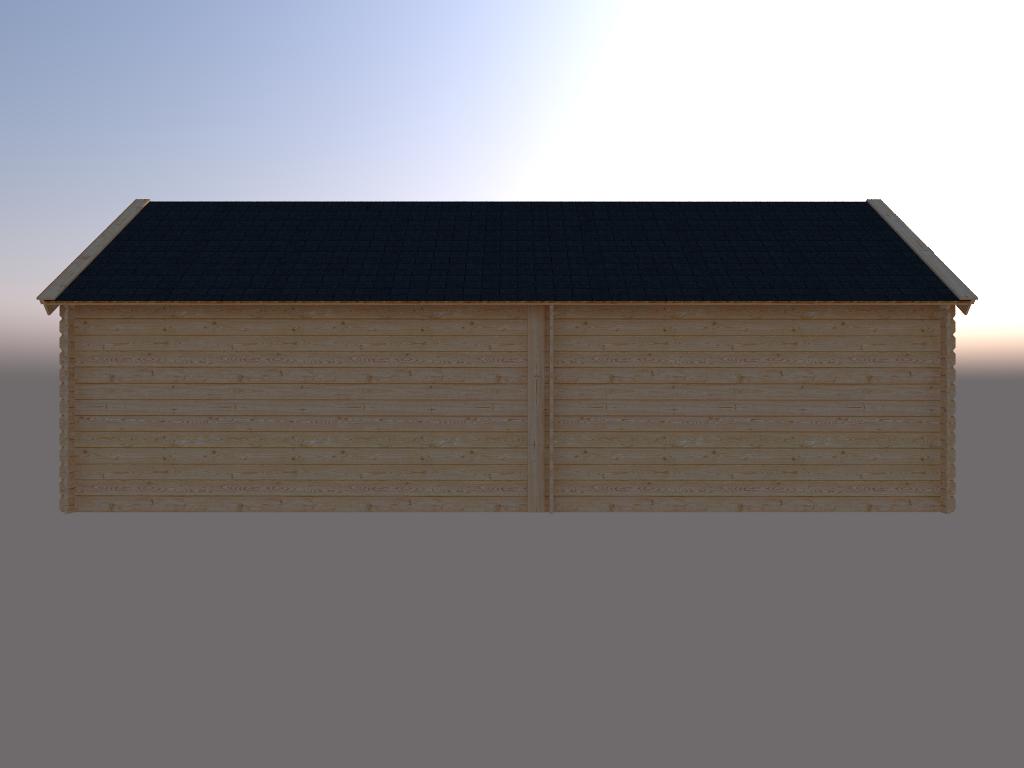 DWF Blokhut met overkapping Kapschuur dak 350 x 250 + 400cm