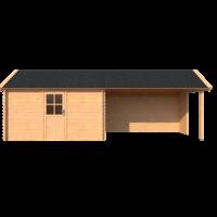 DWF Blokhut met overkapping Kapschuur dak 400 x 250 + 400cm