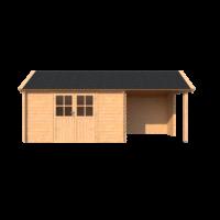 DWF Blokhut met overkapping Kapschuur dak 400 x 250 + 250cm