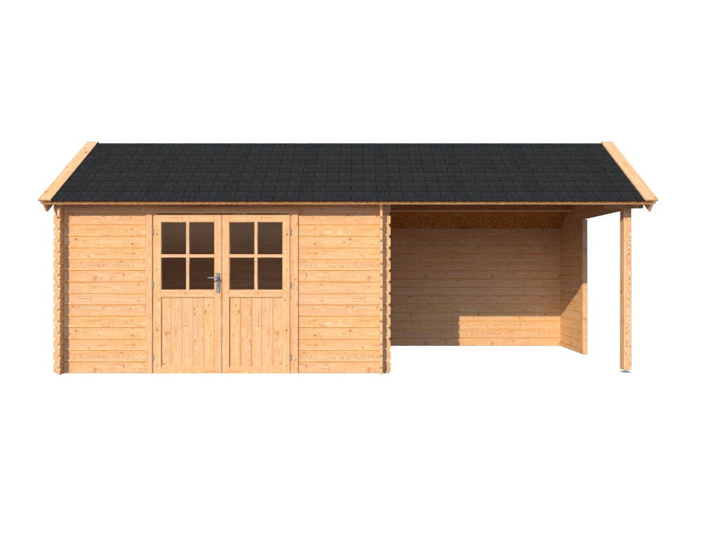 DWF Blokhut met overkapping Kapschuur dak 400 x 250 + 300cm