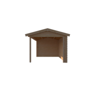 DWF Blokhut met overkapping zadeldak 250 x 300 + 350cm