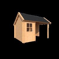DWF Blokhut met overkapping Kapschuur dak 150 x 300 + 250cm
