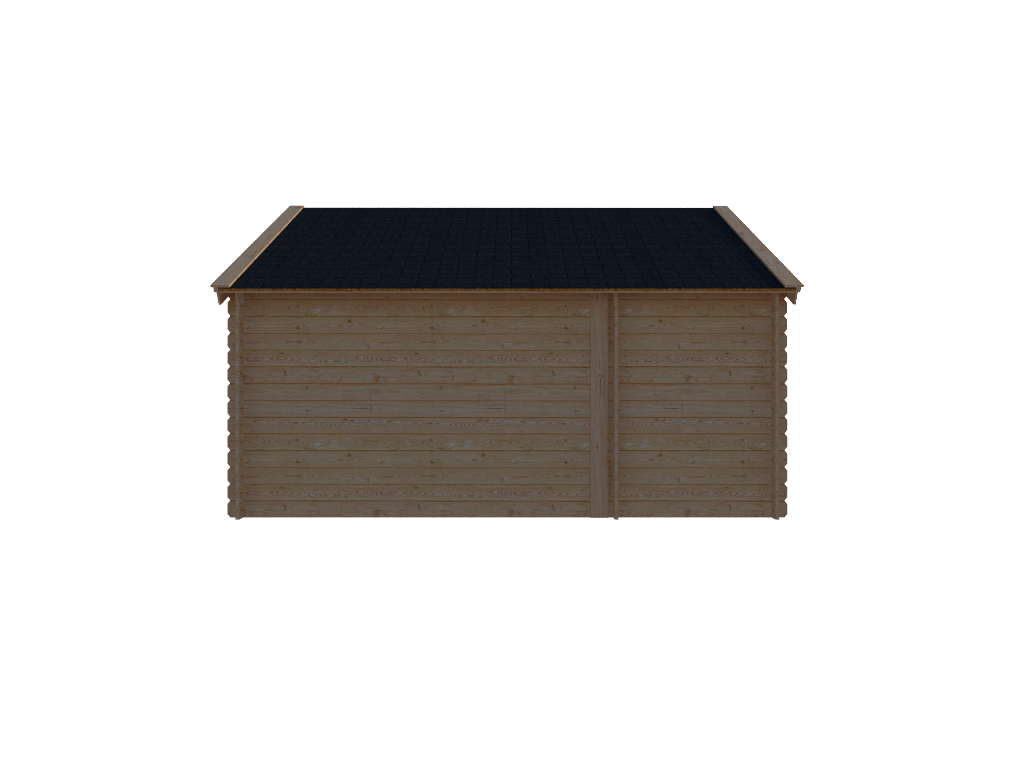 DWF Blokhut met overkapping Kapschuur dak 150 x 300 + 300cm