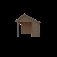 DWF Blokhut met overkapping Kapschuur dak 150 x 300 + 350cm