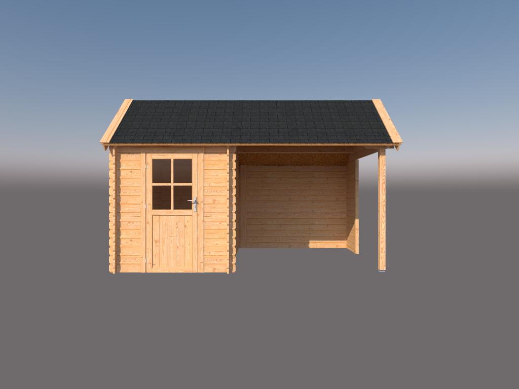 DWF Blokhut met overkapping Kapschuur dak 200 x 300 + 250cm