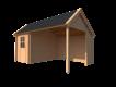 DWF Blokhut met overkapping Kapschuur dak 200 x 300 + 300cm