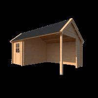 DWF Blokhut met overkapping Kapschuur dak 200 x 300 + 350cm