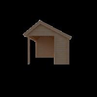 DWF Blokhut met overkapping Kapschuur dak 200 x 300 + 400cm