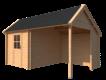 DWF Blokhut met overkapping Kapschuur dak 250 x 300 + 250cm