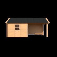 DWF Blokhut met overkapping Kapschuur dak 300 x 300 + 300cm
