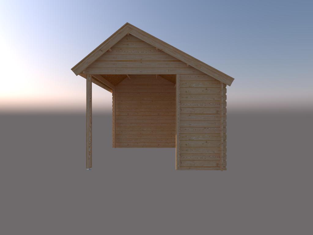 DWF Blokhut met overkapping Kapschuur dak 300 x 300 + 350cm