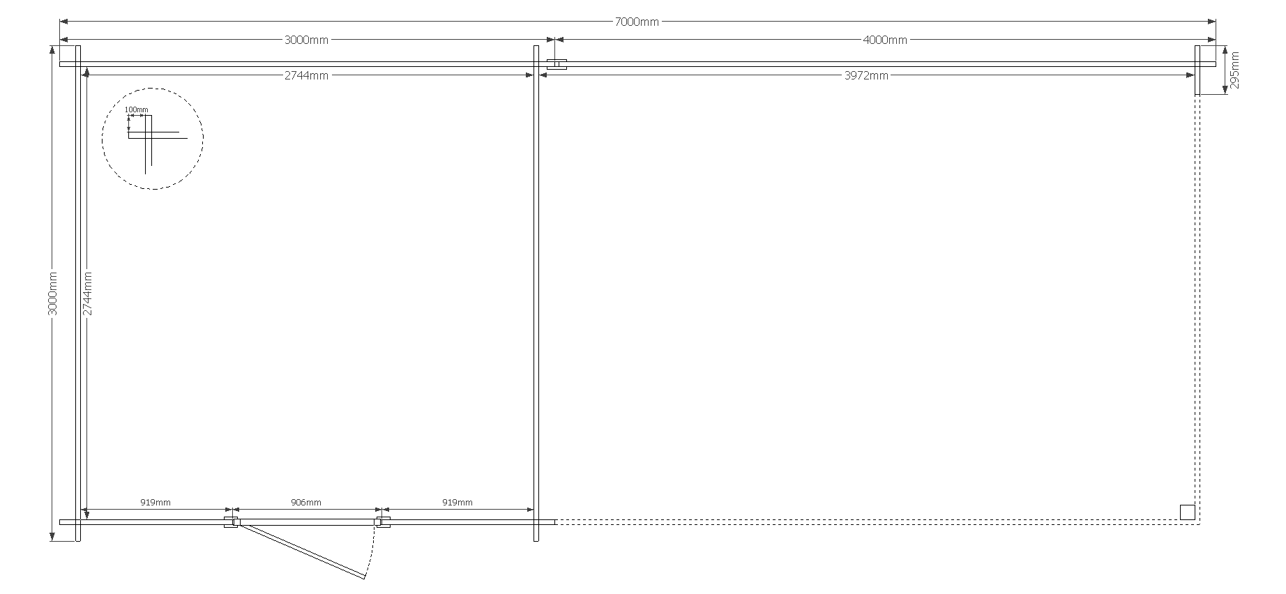 DWF Blokhut met overkapping zadeldak 300 x 300 + 400cm