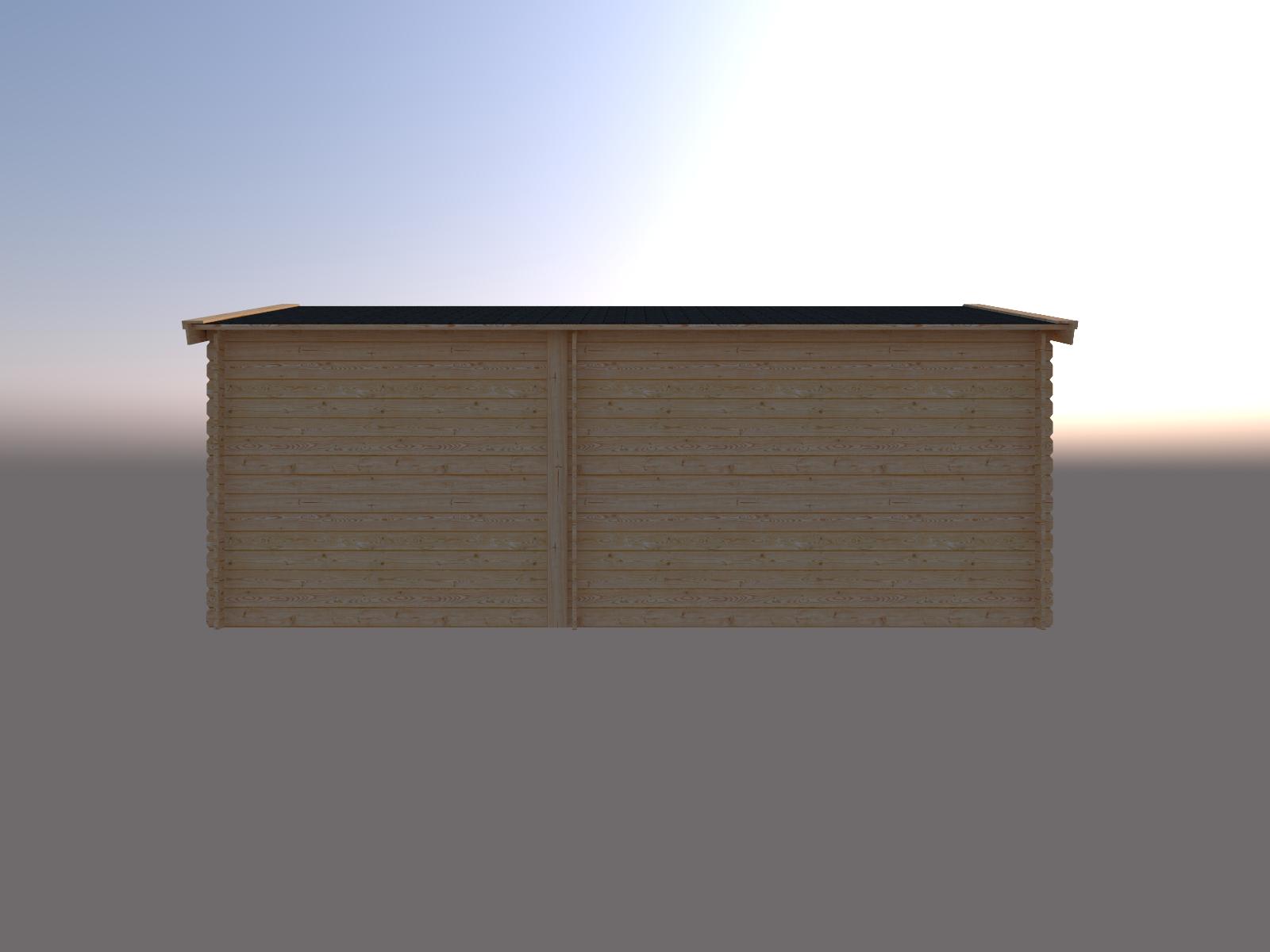 DWF Blokhut met overkapping zadeldak 350 x 300 + 250cm
