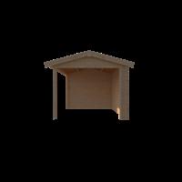 DWF Blokhut met overkapping zadeldak 350 x 300 + 300cm