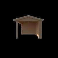 DWF Blokhut met overkapping zadeldak 350 x 300 + 350cm