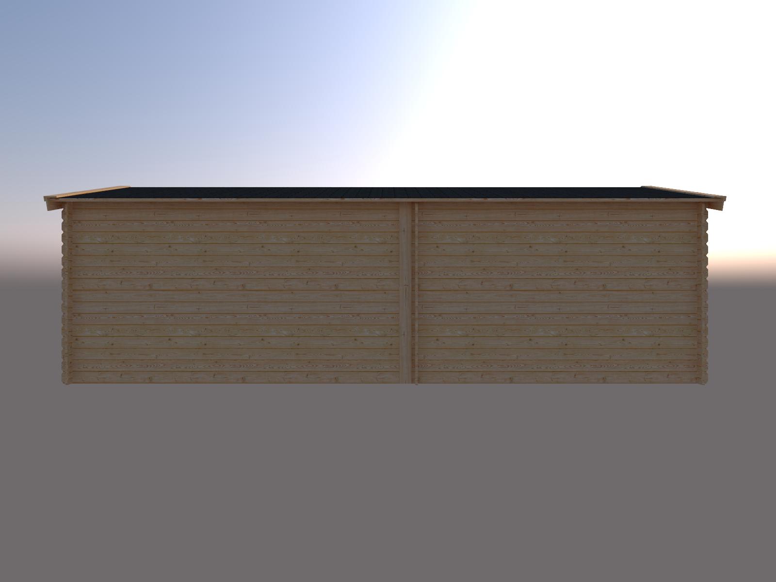 DWF Blokhut met overkapping zadeldak 350 x 300 + 400cm