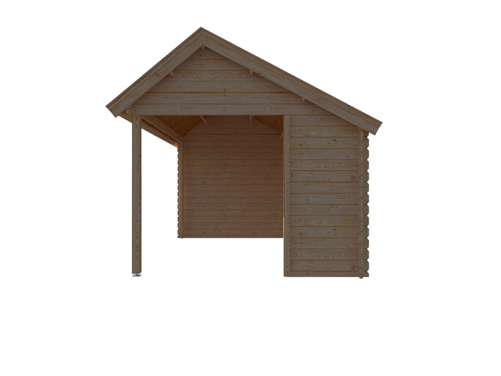 DWF Blokhut met overkapping Kapschuur dak 350 x 300 + 350cm