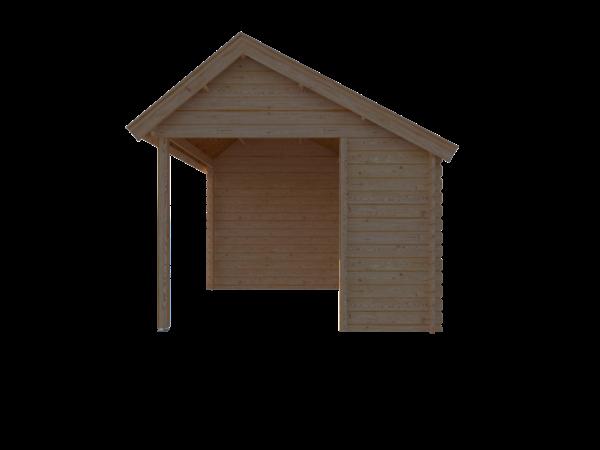 DWF Blokhut met overkapping Kapschuur dak 400 x 300 + 300cm