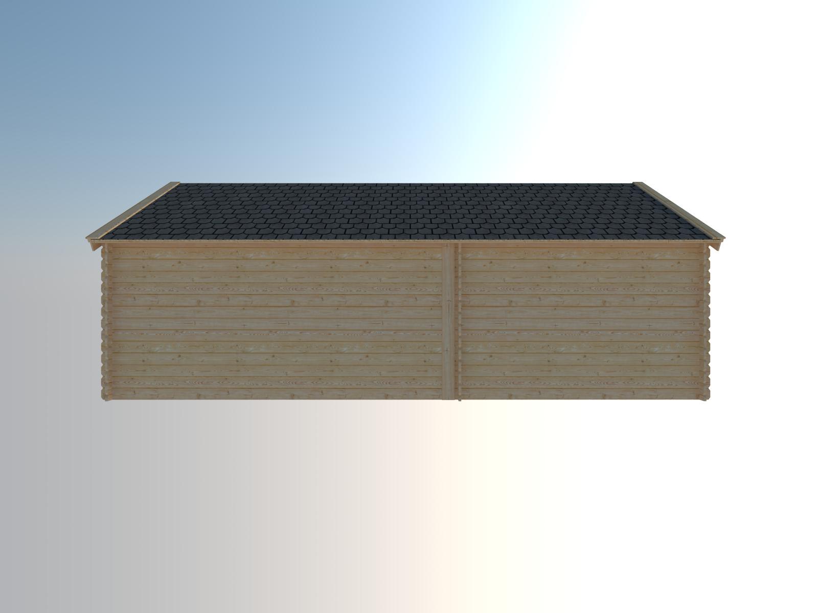 DWF Blokhut met overkapping Kapschuur dak 300 x 300 + 400cm