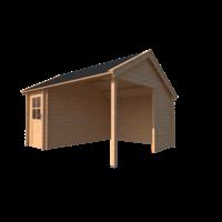 DWF Blokhut met overkapping Kapschuur dak 150 x 350 + 300cm