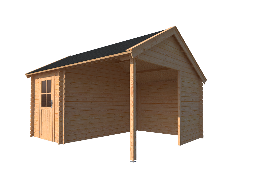 DWF Blokhut met overkapping Kapschuur dak 200 x 350 + 250cm