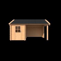 DWF Blokhut met overkapping Kapschuur dak 200 x 350 + 300cm