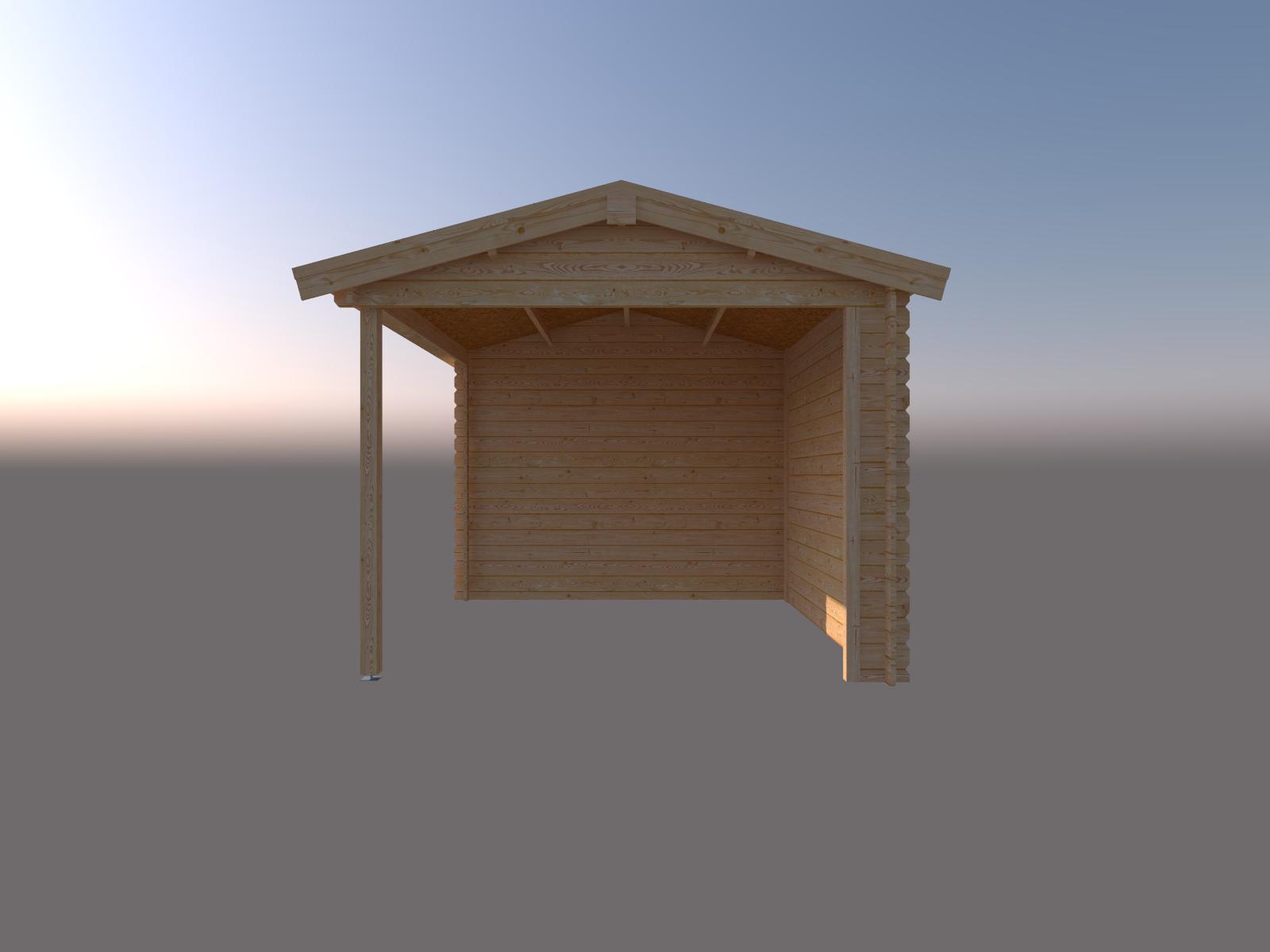 DWF Blokhut met overkapping zadeldak 400 x 300 + 300cm