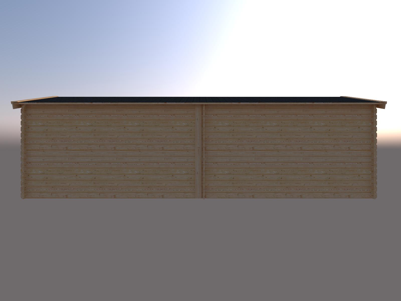 DWF Blokhut met overkapping zadeldak 400 x 300 + 400cm