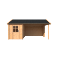 DWF Blokhut met overkapping Kapschuur dak 200 x 350 + 350cm