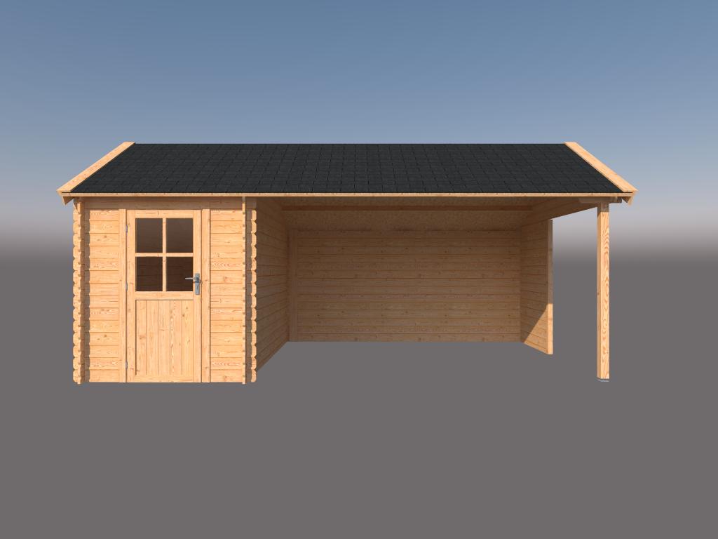 DWF Blokhut met overkapping Kapschuur dak 200 x 350 + 400cm