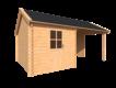 DWF Blokhut met overkapping Kapschuur dak 250 x 350 + 300cm