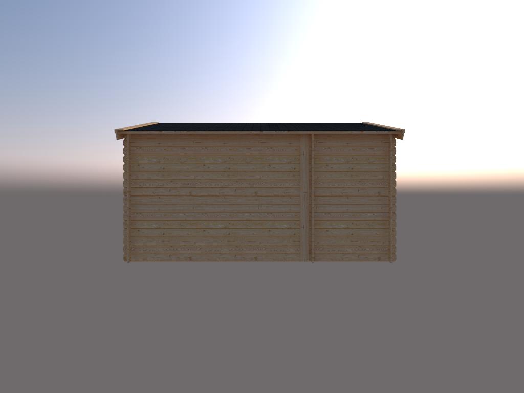 DWF Blokhut met overkapping zadeldak 150 x 350 + 300cm