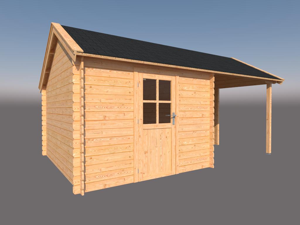 DWF Blokhut met overkapping Kapschuur dak 300 x 350 + 250cm