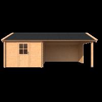 DWF Blokhut met overkapping Kapschuur dak 300 x 350 + 400cm