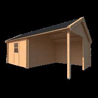DWF Blokhut met overkapping Kapschuur dak 350 x 350 + 300cm