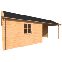 DWF Blokhut met overkapping Kapschuur dak 350 x 350 + 350cm