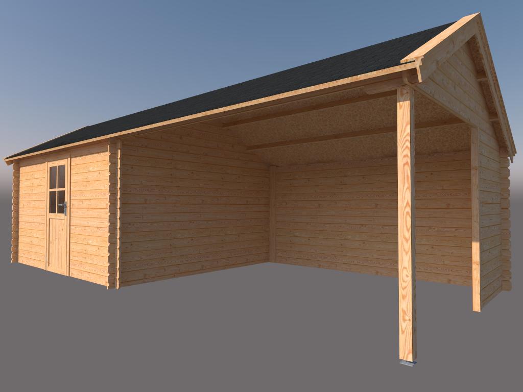 DWF Blokhut met overkapping Kapschuur dak 400 x 350 + 400cm