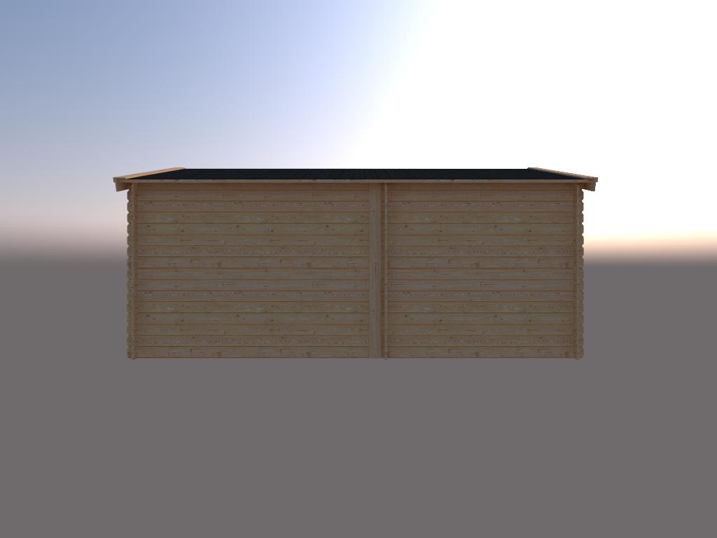 DWF Blokhut met overkapping zadeldak 250x 350 + 300cm