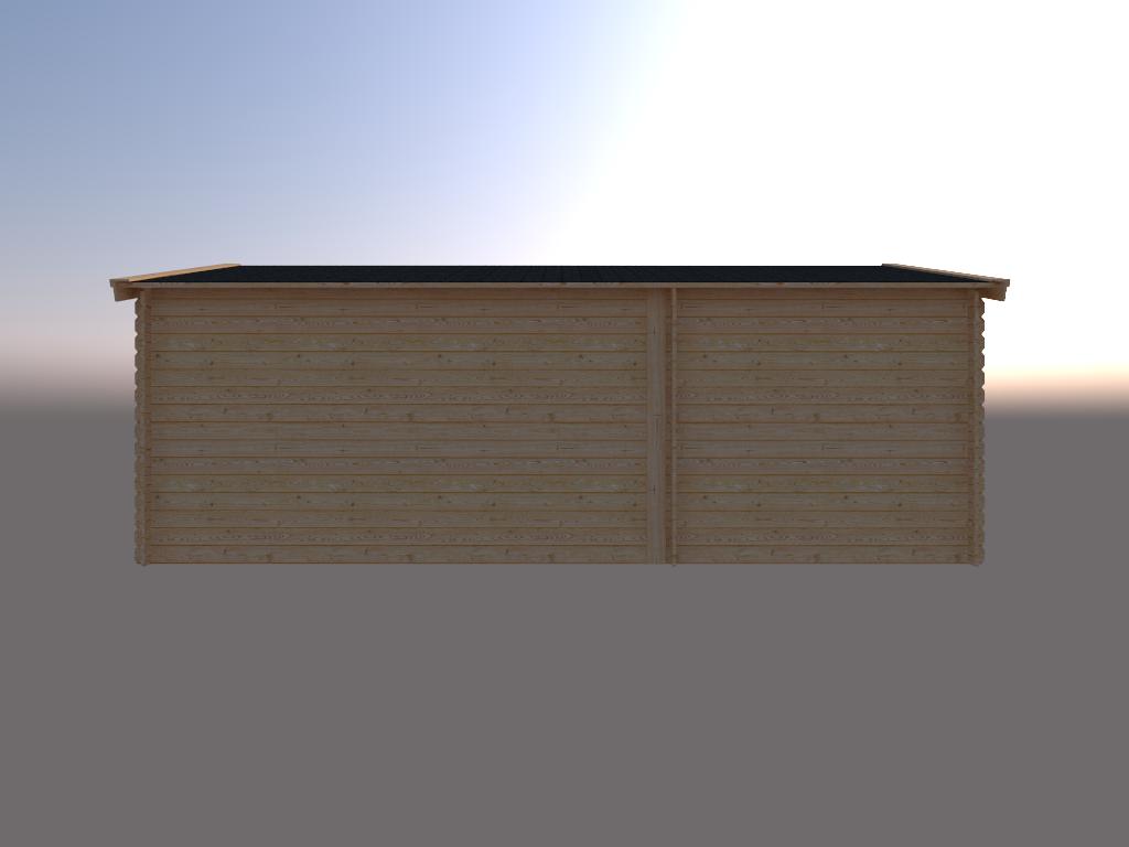 DWF Blokhut met overkapping zadeldak 250x 350 + 400cm