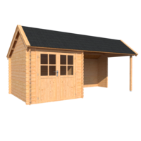 DWF Blokhut met overkapping Kapschuur dak 250 x 300 + 350cm