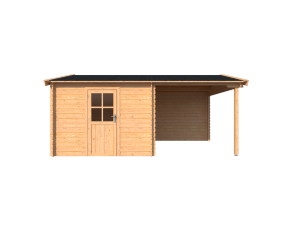 DWF Blokhut met overkapping zadeldak 300 x 350 + 250cm