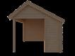 DWF Blokhut met overkapping Kapschuur dak 250 x 300 + 400cm