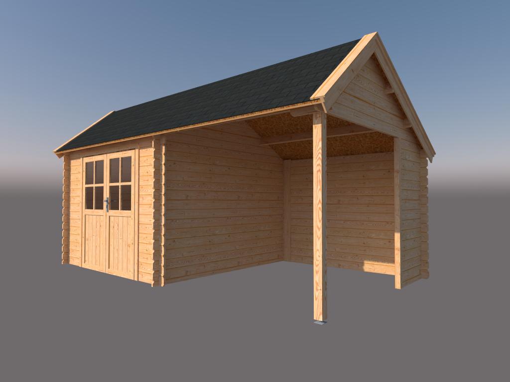 DWF Blokhut met overkapping Kapschuur dak 300 x 300 + 250cm