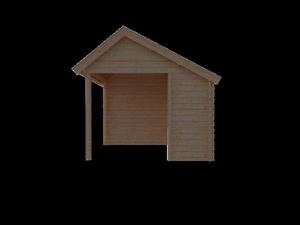 DWF Blokhut met overkapping Kapschuur dak 350 x 300 + 250cm
