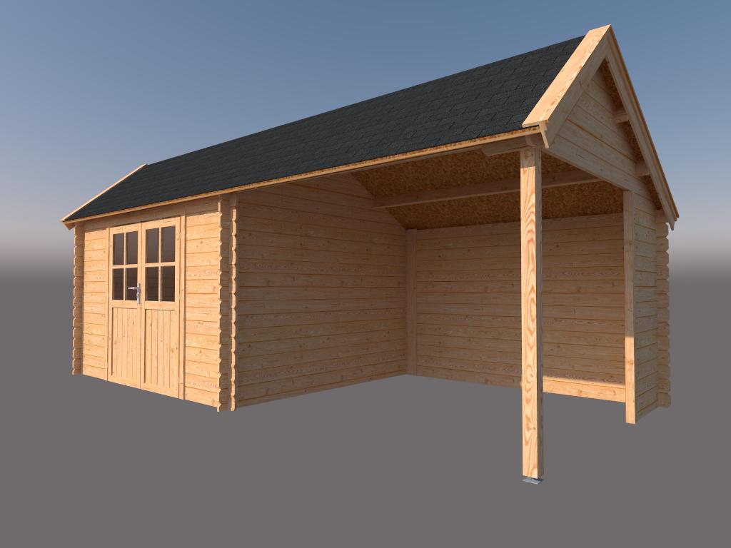DWF Blokhut met overkapping Kapschuur dak 350 x 300 + 300cm