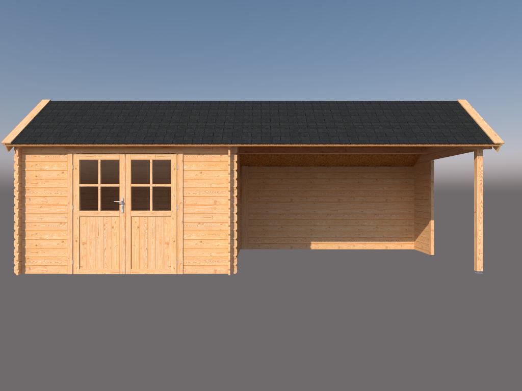DWF Blokhut met overkapping Kapschuur dak 350 x 300 + 400cm