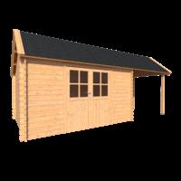 DWF Blokhut met overkapping Kapschuur dak 400 x 300 + 250cm