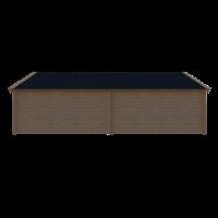 DWF Blokhut met overkapping Kapschuur dak 400 x 300 + 400cm