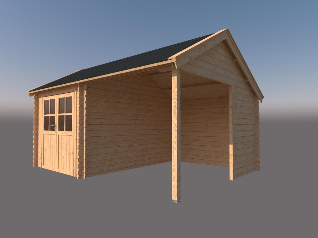 DWF Blokhut met overkapping Kapschuur dak 250 x 350 + 250cm