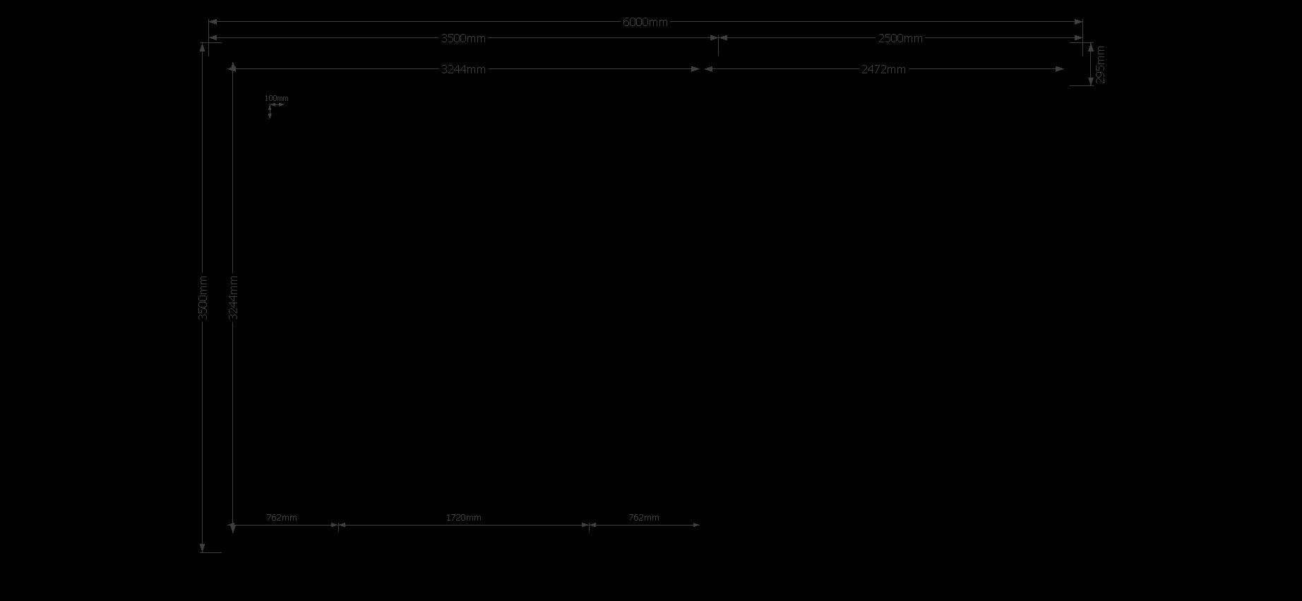 DWF Blokhut met overkapping zadeldak 350 x 350 + 250cm